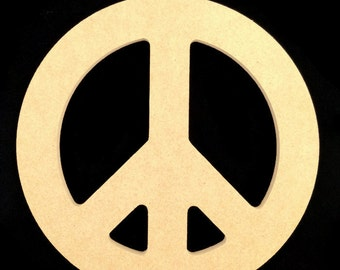 Five Unpainted  12'' Peace Signs Made from  1/2'' MDF. Free Shipping. 9-14