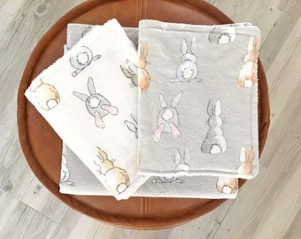 Flannel Wraps (2) and matching Burp Cloths (2) - Newborn Baby Gift Box - Flannel Swaddles and Burp Cloths - Baby Gift Box - Christening gift