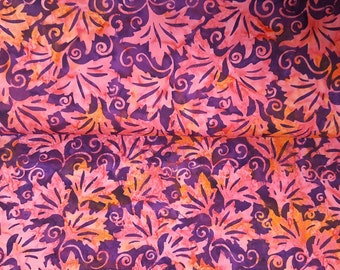 100% cotton Quilting fabric by the 1/2 yard, Hand dye, batik, watercolor,  fuchsia deep pink with leave print.  Purple with a tad of orange