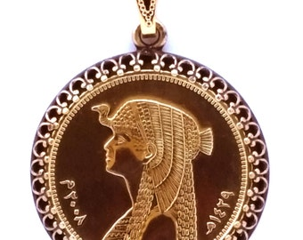 Egyptian Coin Pendant Cleopatra Gold Queen Pharaoh Egyptian Necklace Jewelry Royal Unique Charm Finding Bead World