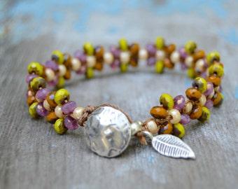 Hand Knotted Glass Bead Bracelet Sterling Leaf Dangle. Boho. Artisan.  Dangles . Glass . Wedding Gift .Bracelet. Boho .