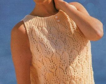 Ladies Cotton Top Knitting Pattern Sleeveless Summer Style