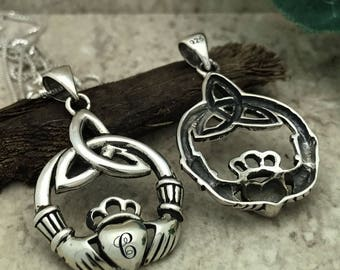 Claddagh Necklace, Sterling Silver Claddagh Necklace, Personalize Irish Claddagh Necklace, Love Loyalty & Friendship Necklace-SP278