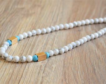 howlite necklace howlite bead necklace white stone necklace marble necklace howlite jewelry marble jewelry gift for her womens bead necklace