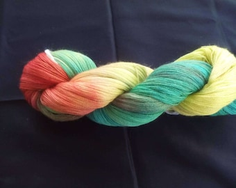 100g strand hand-dyed, noble Tuchgarn/Lacegarn made of alpaca extrafine with silk and Cashmir