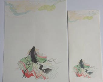 Japanese stationery with envelopes, pattern Junihitoe, 12 sheets and 4 envelopes (P040)
