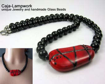 Red-black glass bead necklace, focal bead, lampwork, stringer painting