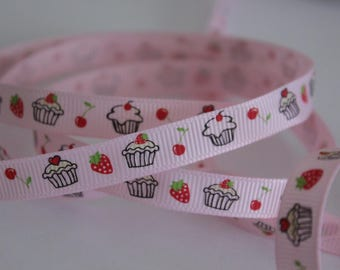 """3/8"""" Grosgrain Ribbon with Cupcakes - Light Pink - 5 yards"""