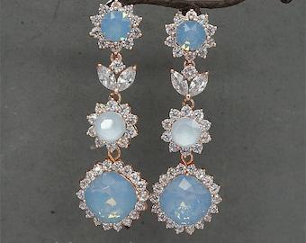 Blue Opal Earrings, Rose Gold Earrings, Blue Wedding Earrings Something Blue Swarovski Rhinestone Jewelry for Brides Bridesmaid Jewellery