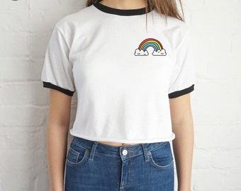Rainbow Crop Ringer Top Shirt Tee Cropped Fashion Blogger Grunge Cute