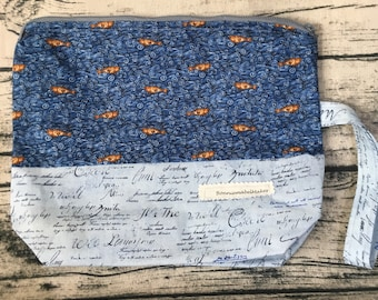 Project bag or toiletry bag fish fabric