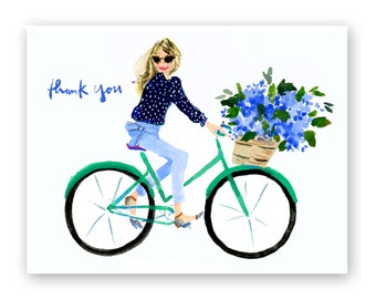 Thank You Cards: Nantucket Bike Girl