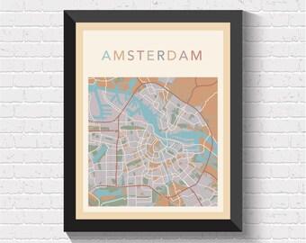 Amsterdam Map, Amsterdam Street Map, Amsterdam City Map, Amsterdam Print, Amsterdam Poster, Amsterdam Art, Amsterdam, Holland, Netherlands