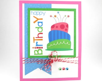 Birthday cards, happy birthday cards, birthday cake, girls birthday, birthday for girls, birthday card for her, pink blue green