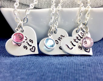 Personalized necklace set for 2 mother daughter necklace, Mother daughter jewelry love birthstone necklace set, Gift for mom heart necklace