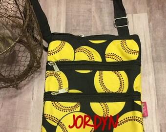 Personalized Softball Crossbody bag