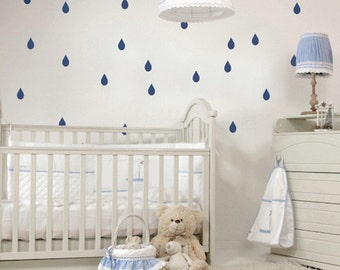 Rain Drops Bedroom Decals, Rain Drops Wall Stickers, Bedroom Raindrops Wall Vinyls, Kids Rain Drops Stickers, Rainy Day Wall Decal, a28