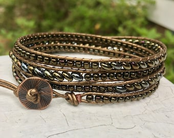 Metal Bead Leather Wrap Bracelet - Superduo Bead Bracelet - Seed Bead Wrap - Leather Bracelet - Chan Luu Style - Large Wrist - Mother's Day