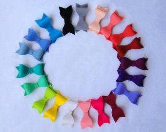 """Felt bow hair clip, 3.5"""" Felt bow, Baby bow, 100% Merino Wool Felt, Rainbow colors"""