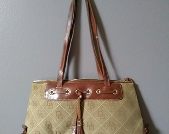Vintage Khaki and Brown Dooney and Bourke Canvas and Leather Handbag