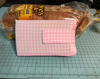 Bread Buddy, Bread Saver, Bread Protector, Pink Houndstooth Print