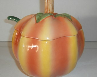 Vintage kitchen fall harvest Halloween Thanksgiving pumpkin soup tureen with ladle made in Portugal
