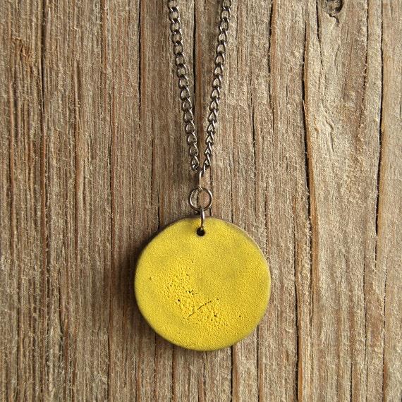 LARGE matte lemon round stoneware pendant