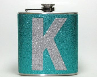 Teal Green Personalized Sparkly Glitter 6 oz Size Stainless Steel Liquor Hip Flask Flasks Weddings Bridesmaids Gift Idea