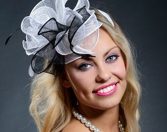 Black and white fascinator hat for weddings, Derby, Ascot, parties