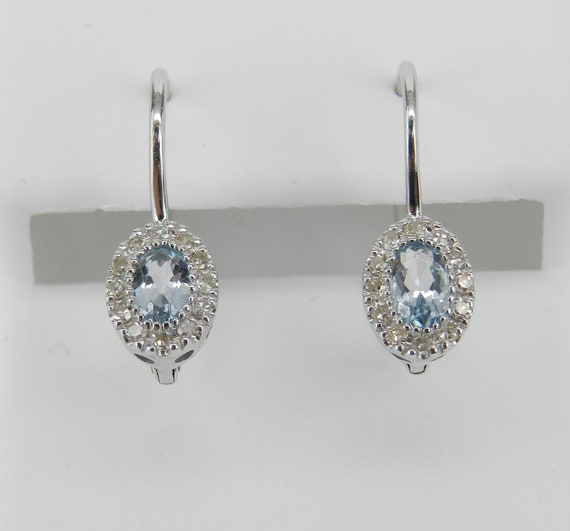 Aquamarine and Diamond Halo Dangle Drop Earrings White Gold Unique Gemstone Leverback