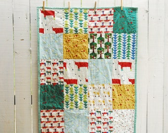 Organic Patchwork Crib Quilt - Organic Cottons and Hand Dyed Organic Sea Glass Green - Rhinos and Friends Quilt - MADE TO ORDER