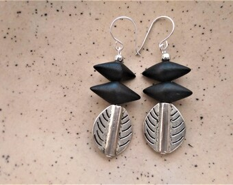 Ethnic style drop earrings with sterling silver hooks.