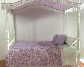 Miniature One Inch Scale Lavender Canopy Bed