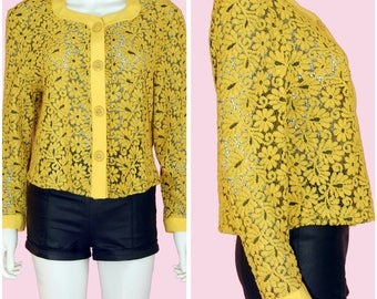 90s Yellow Floral Top / Vintage 1990s Flower Print Yellow Long Sleeve Blouse / Large