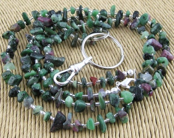 Back To School Ravishing Ruby Zoisite purple and green gemstone chip lanyard ... perfect for your ID badge key eyeglasses