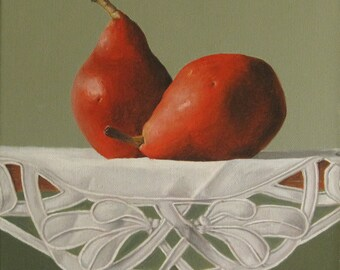 Cutwork and Pears, Original Framed Still Life Oil Painting by Sheila Cantrell