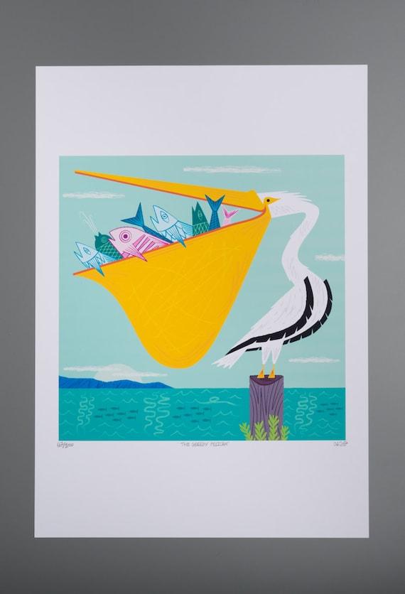 The Greedy Pelican -  Childrens decor - limited edition - animal art poster print - iOTA iLLUSTRATiON