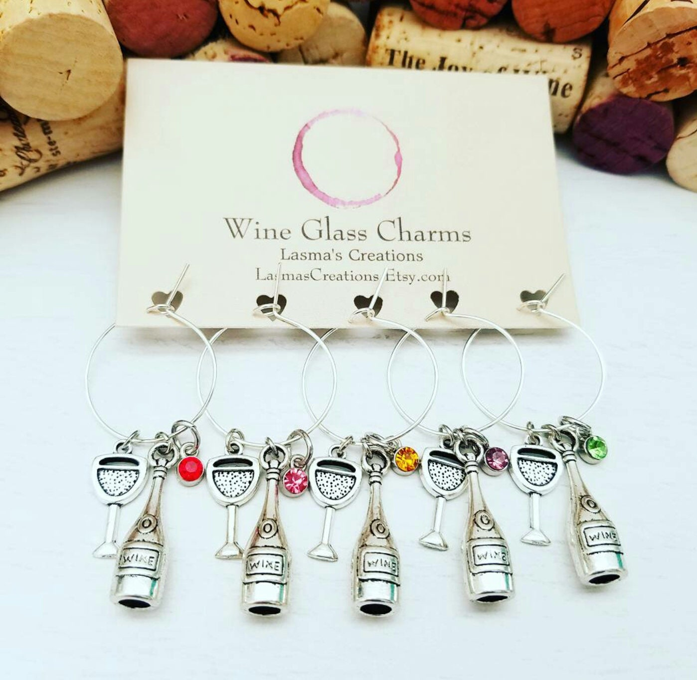 WINE BIRTHDAY FAVORS 5 Wine Glass Charms Wine Gift 21st
