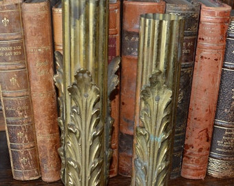 Antique Pair French Fluted Columns Posts Pillars Support for Lamps Ornate Gilt Brass Hardware Repurpose