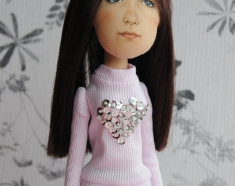 Personalized fabric doll selfie cloth doll mini me stuffed doll portrait doll from photo OOAK doll look alike baby kids girl custom doll