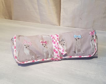 """very pretty cotton bag closed with a link, """"small dogs with a bow"""""""