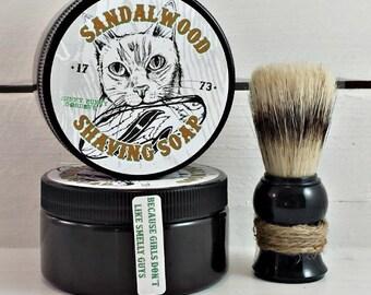 Sandalwood Mens Shaving Soap, Manly Shaving Soap Jar, Wet Shave, Surfer Cat, Unique Gifts For Men, Homemade Gifts For Men, Shave Soap Jar