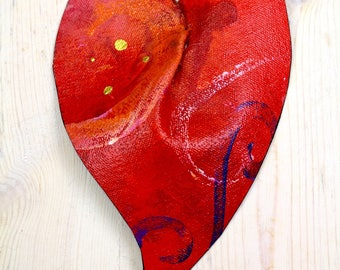 """Red hand painted canvas sculpture heart/  Valentine's Day gift/ affordable art/ gift for her/ acrylic painted heart/ handmade/ """"Heart 22"""""""