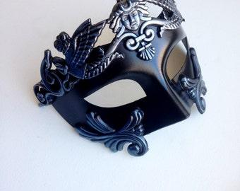 Mens masqerade mask, Silver Mask, Roman Halloween Costume Mask for Men, Masquerade Mask Roman God Mask for Men