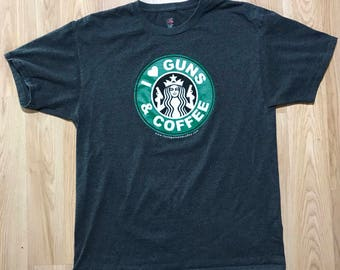 I love guns and coffee T-shirt size Large