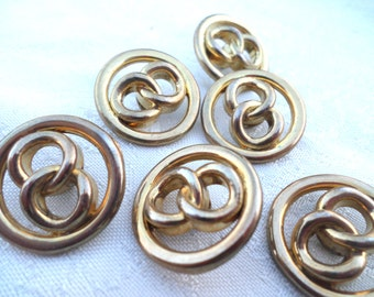 6 Gold Knot Metal Shank Buttons Vintage Metal Buttons
