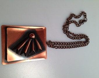 1950s Vintage COPPER Pendant  Copper NECKLACE  Mid Century Modern EAMES Era Fifties Copper Vintage Necklace