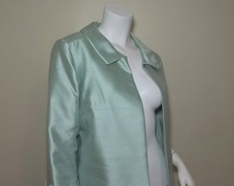 Vintage 60s Silk Shantung Cropped Evening Jacket Sawtooth Cuffs L