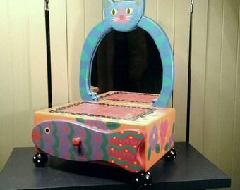 Whimsical Dresser Box Mirror Drawer Vintage Tatutina Vanity Hand Painted Fantasy Wooden Cat Storage Organizer Makeup Jewelry Keys Hallway