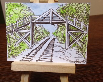 ACEO Art Railroad Bridge - Original Watercolor and Pen and Ink